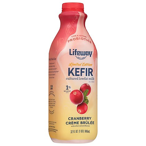 Lifeway Kefir Cultured Milk Smoothie Lowfat Cranberry Creme Brulee - 32 Fl. Oz.