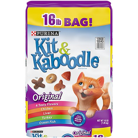 Kit & Kaboodle Cat Food Dry Original Chicken Liver Turkey & Ocean Fish - 16 Lb