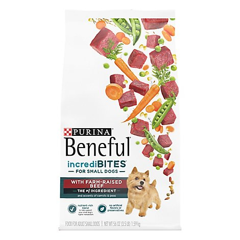 Beneful IncrediBites Dog Food For Small Dogs With Real Beef Bag - 56 Oz