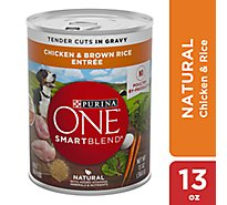 Purina ONE SMARTBLEND Dog Food Adult Tender Cuts in Gravy Chicken & Brown Rice Entree Can - 13 Oz