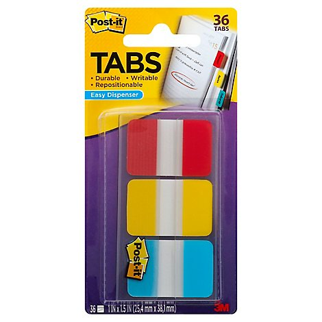 Post-It Tabs Durable Writable 1 x 1.5 Inch - 36 Count