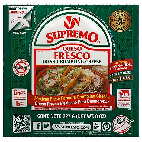 Supremo Cheese Crumbling Fresh Farmers Mexican - 8 Oz