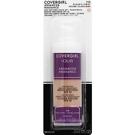 COVERGIRL Advanced Radiance Makeup + Sunscreen Age Defying Classic Ivory 110 - 1 Fl. Oz.