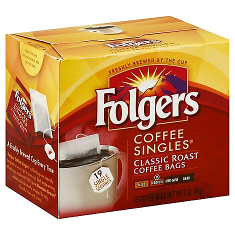 Folgers Coffee Singles Medium Classic Roast Bags 19 Count - 3 Oz
