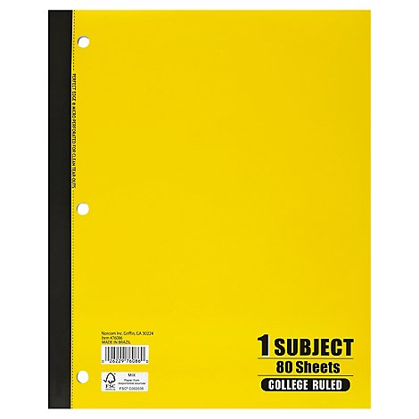 Norcom Notebook College Ruled 1 Subject 80 Sheets - Each