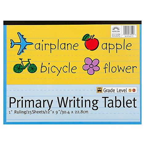 Norcom Primary Writing Tablet Grade Level 1 & 2 Sheets 12x9 25 Sheets - Each