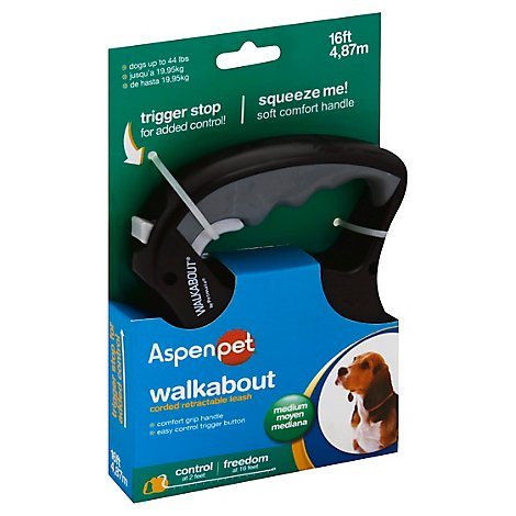 Aspen Pet Walkabout Leash Corded Retractable Medium 16ft Box - Each