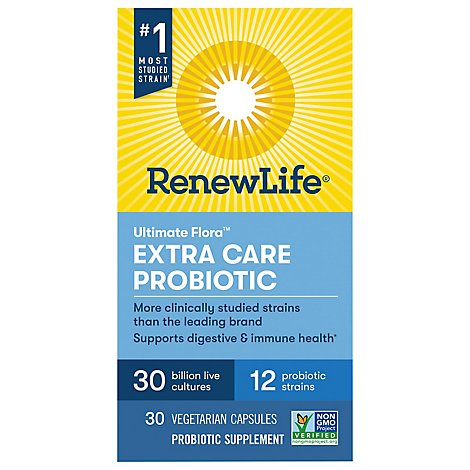 ReNew Life Ultimate Flora Probiotic Supplement Vegetable Capsules Extra Care - 30 Count