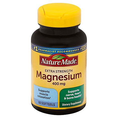 Nature Made Dietary Supplement Softgels Minerals Magnesium Hihg Potency 400 mg - 60 Count