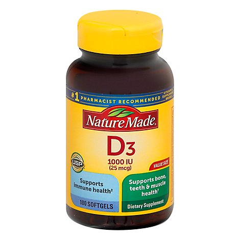 Nature Made Vitamin D Supplement Softgels D3 1000 IU - 180 Count