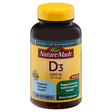 Nature Made Vitamin D3 1000iu Sofgels - 300 Count