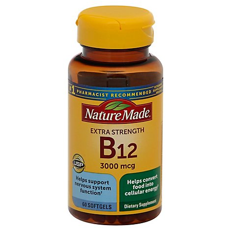 Nature Made Dietary Supplement Softgels Vitamin B-12 3000 mcg - 60 Count