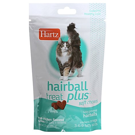 Hartz Hairball Remedy Plus For Cats & Kittens Soft Chews Savory Chicken Pouch - 3 Oz