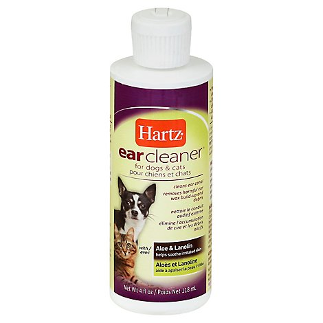 Hartz Ear Cleaner For Dogs & Cats With Aloe & Lanolin Bottle - 4 Fl. Oz.