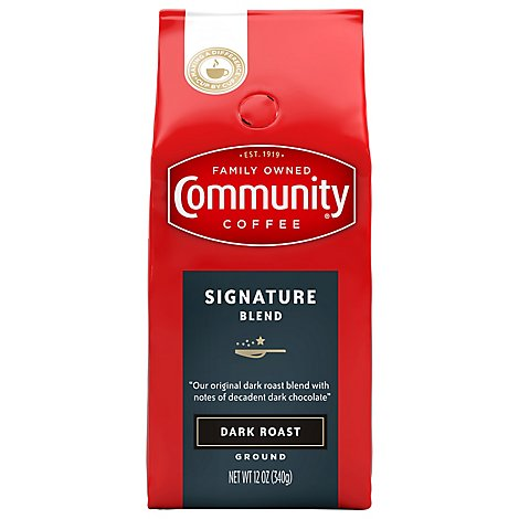 Community Coffee Coffee Ground Dark Roast Signature Blend - 12 Oz