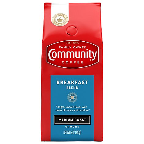 Community Coffee Coffee Ground Medium Roast Breakfast Blend - 12 Oz