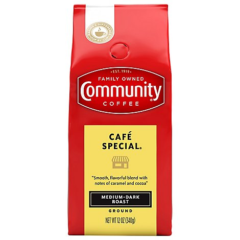 Community Coffee Coffee Ground Medium Dark Roast Cafe Special - 12 Oz