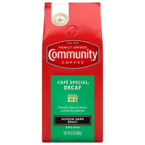 Community Coffee Coffee Ground Medium Dark Roast Cafe-Special Decaffeinated - 12 Oz