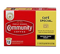 Community Coffee Coffee K-Cup Pods Medium Dark Roast Cafe Special - 12 Count