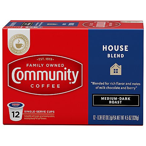 Community Coffee Coffee K-Cup Pods Medium-Dark Roast House Blend - 12 Count