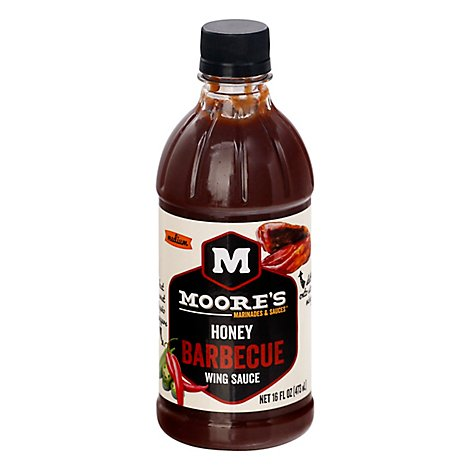 Moores Sauce Wing Honey BBQ - 16 Fl. Oz.