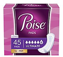 Poise Pads Leakage Protection Long Length Ultimate Absorbency Overnight - 45 Count