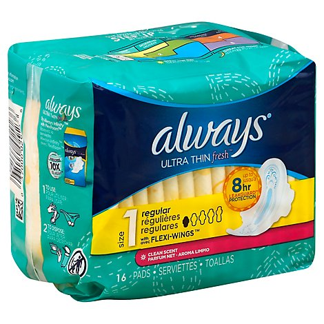 Always Active Pads Ultra Thin Flexi-Wings Regular Clean Scent - 16 Count