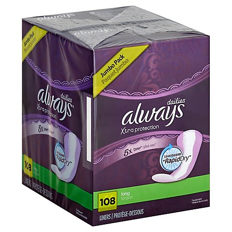 Always Daily Liners Xtra Protection Long Unscented - 108 Count
