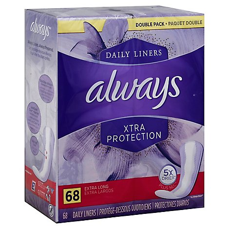 Always Dri-Liners Pantiliners Extra Long Unscented Double Pack - 68 Count