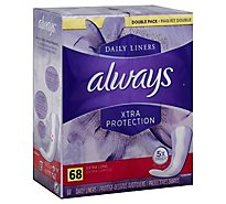 Always Daily Liners Xtra Protection Extra Long Unscented - 68 Count