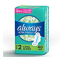 Always Pads Ultra Thin Size 2 Super Long Absorbency With Wings Scented - 40 Count