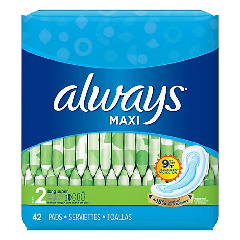 Always Maxi Pads Size 2 Long Super Absorbency Without Wings Unscented - 42 Count