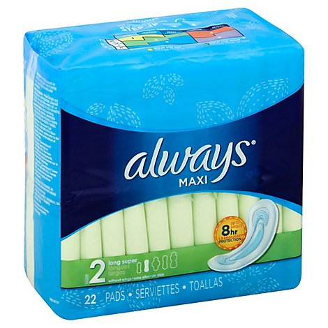 Always Maxi Pads Size 2 Long Super Absorbency Without Wings Unscented - 22 Count