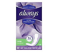 Always Daily Liners Xtra Protection Long Unscented - 40 Count
