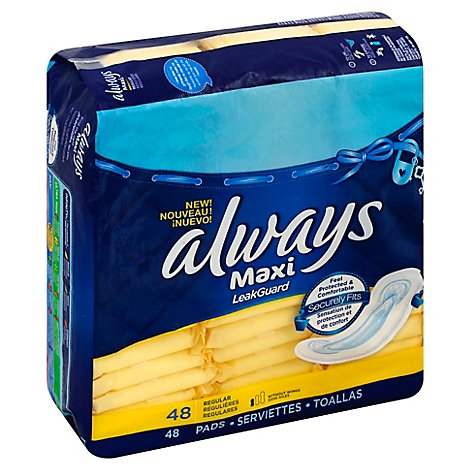 Always Maxi Pads Size 1 Regular Without Wings Unscented - 48 Count