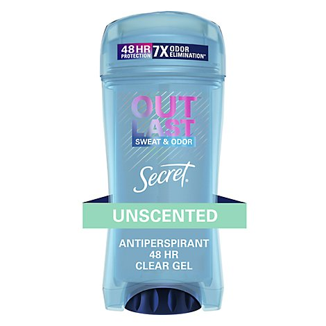 Secret Outlast Clear Gel Antiperspirant Deodorant for Women Unscented - 2.6 Oz