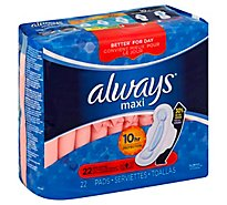 Always Maxi Pads Size 3 Extra Long Super Absorbency With Wings Unscented - 26 Count