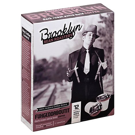 Brooklyn Bean Roastery Coffee Single Serve Cups Dark Roast Fuhgeddaboutit 12 Count - 4.2 Oz