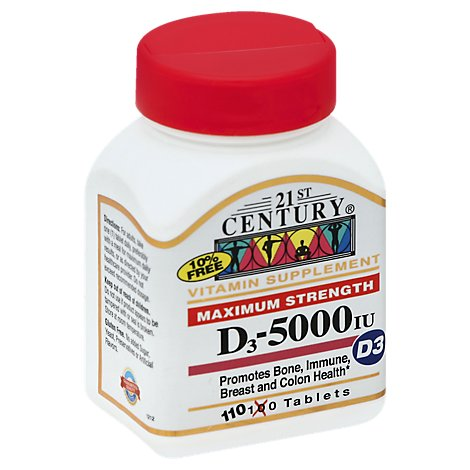 21st Century D3 Tablets 5000 IU Maximum Strength - 110 Count