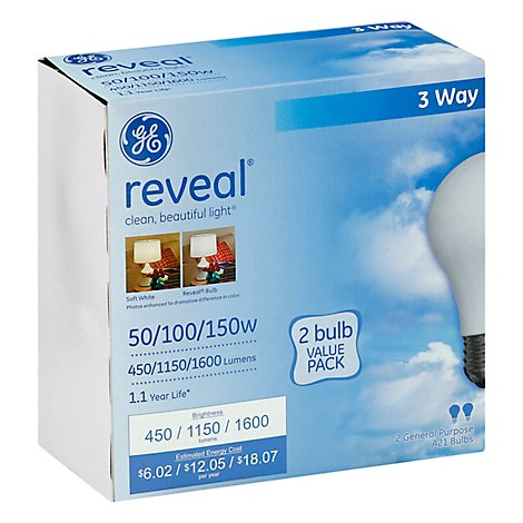 GE Reveal Light Bulbs 3 Way General Purposes 50 100 150 Watts - 2 Count