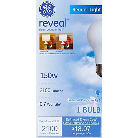 GE Reader Light Bulb Reveal 150 Watt - Each
