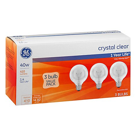 GE Globe Crystal Clear 40 Watt - 3 Count