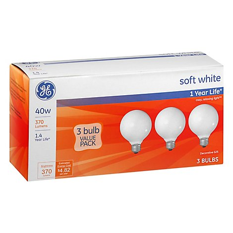 GE Globe 40 Watt White Medium 3 Pk - 3 Count