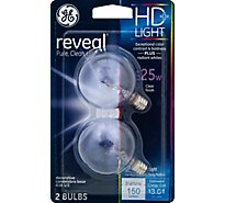 GE Decor Globe Clear Reveal 25 Watt - 2 Count