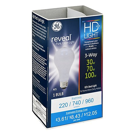 GE Reveal Bulb 30 70 100 3way - Each