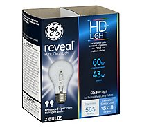 GE Reveal Light Bulbs Halogen HD Light 43 Watts - 2 Count