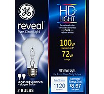 GE Reveal Light Bulbs Halogen HD Light 72 Watts - 2 Count