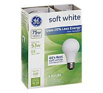 GE 75 Watts Incandescent Light Bulbs Soft White - 4 Count