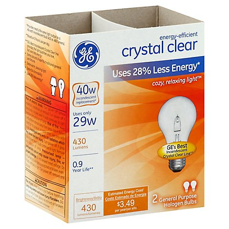 GE Reveal Light Bulbs Halogen Incandescent Crystal Clear General Purpose 40 Watts - 2 Count