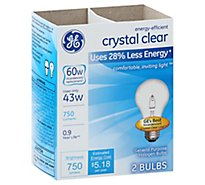 GE 60 Watts Halogen Light Bulbs Crystal Clear - 2 Count